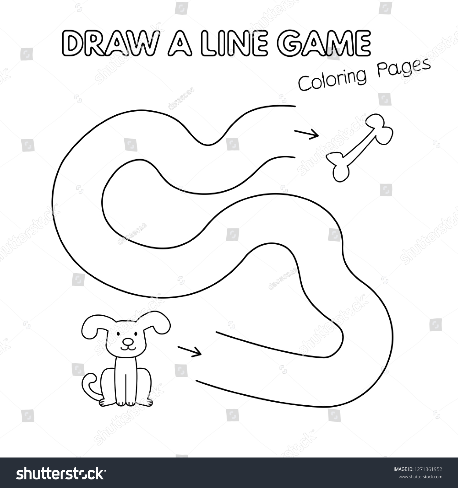 Cartoon dog game for small children draw a line vector coloring book pages for