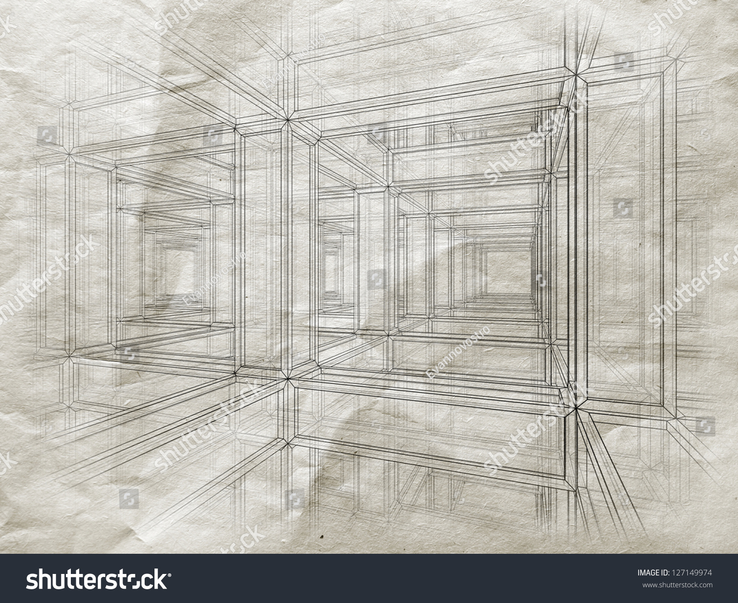 Blueprint perspective view abstract 3 d braced stock illustration blueprint with perspective view of an abstract 3d braced construction on old gray paper malvernweather Choice Image