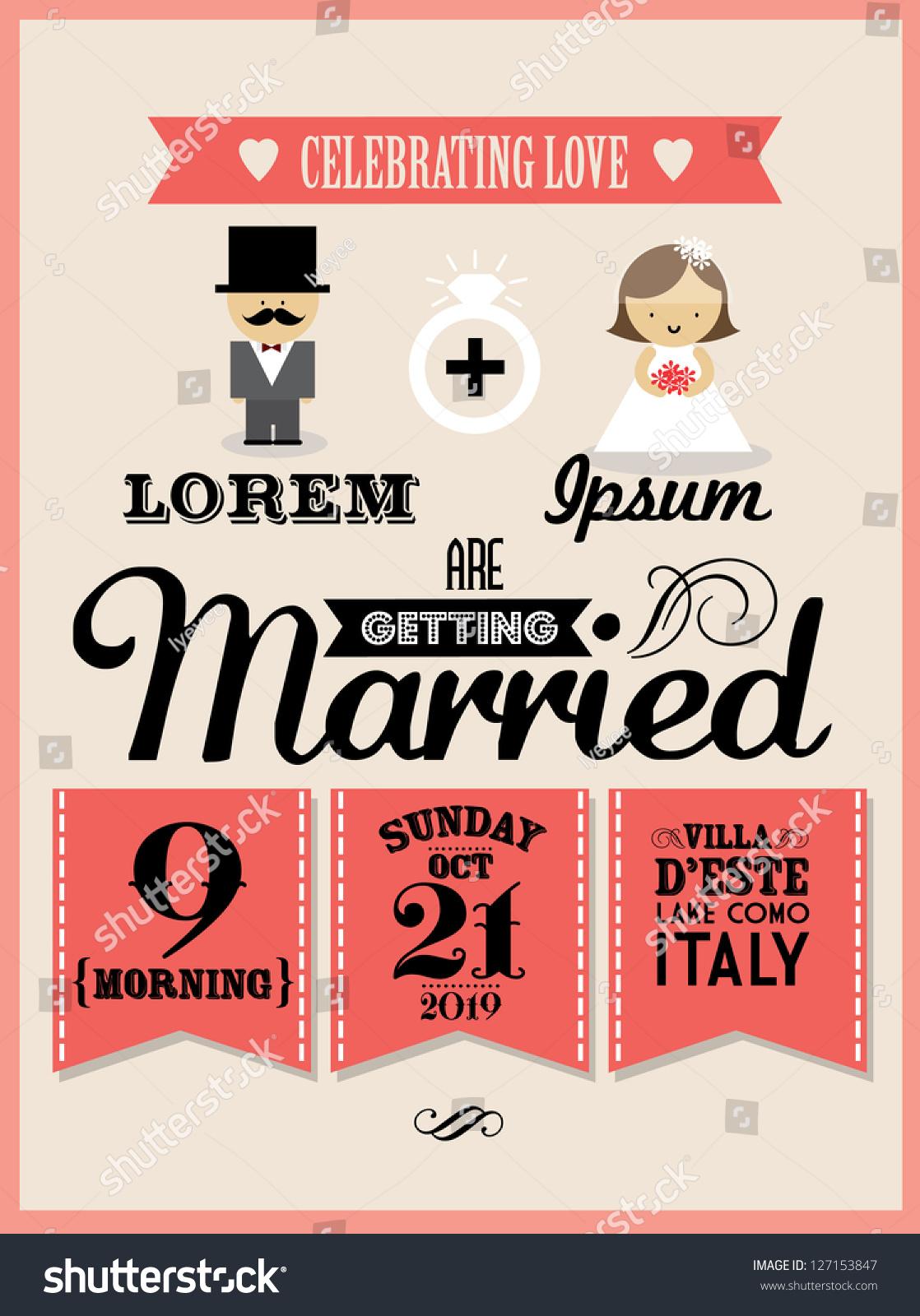 Wedding Invitation Card Template Vectorillustration Stock Vector ...