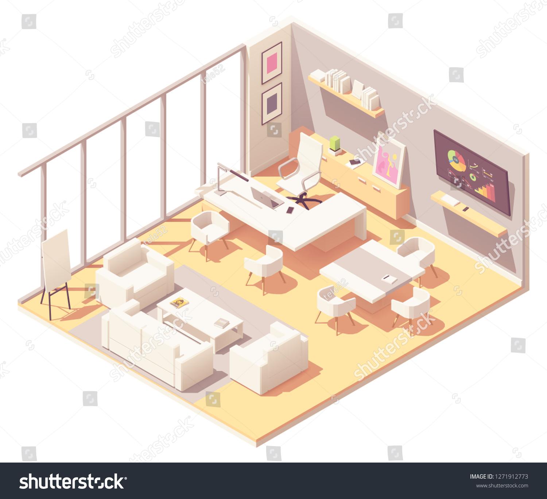 Vector De Stock Libre De Regalias Sobre Vector Isometric Ceo Office Interior White1271912773