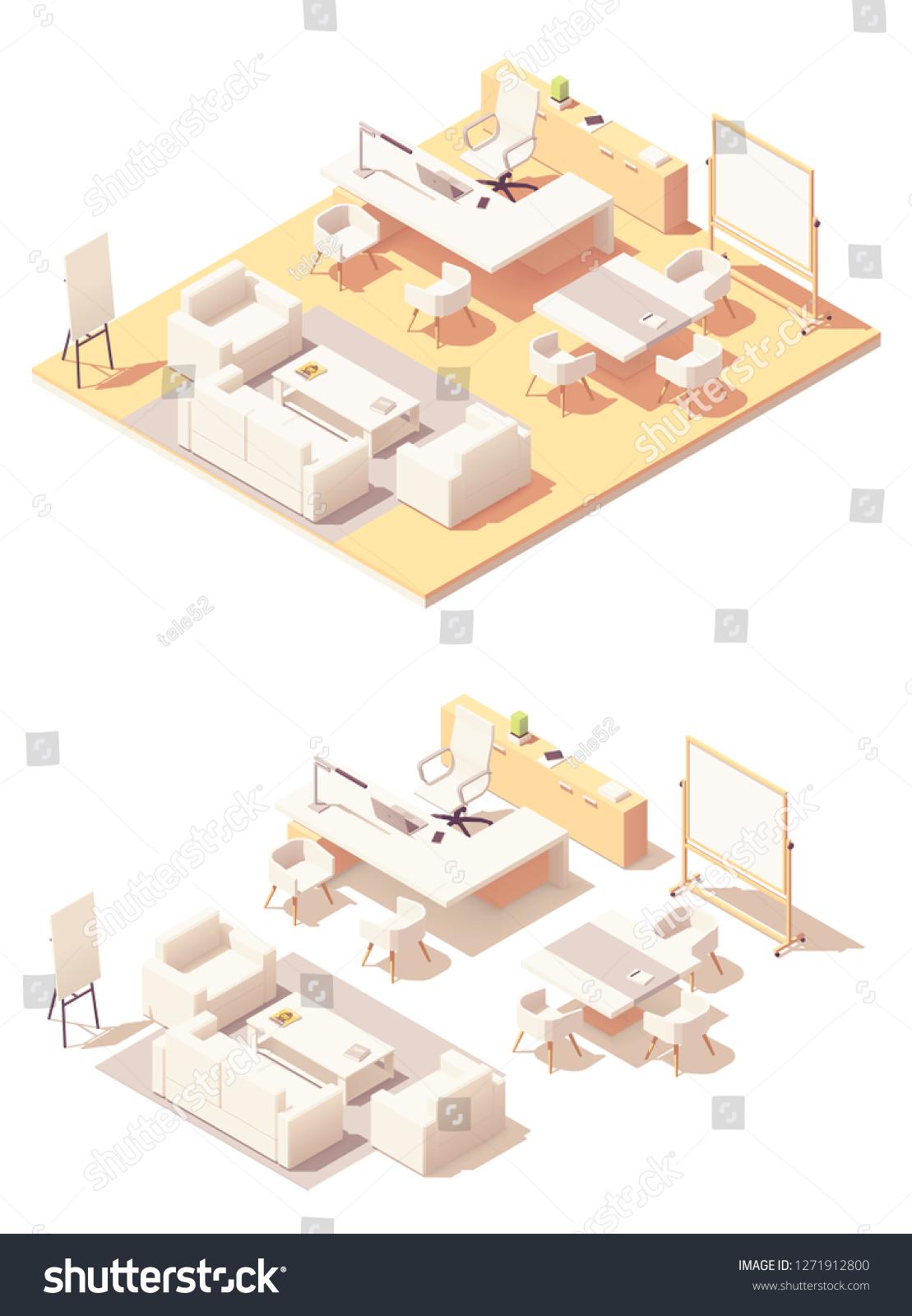 Vector De Stock Libre De Regalias Sobre Vector Isometric Ceo Office Interior White1271912800
