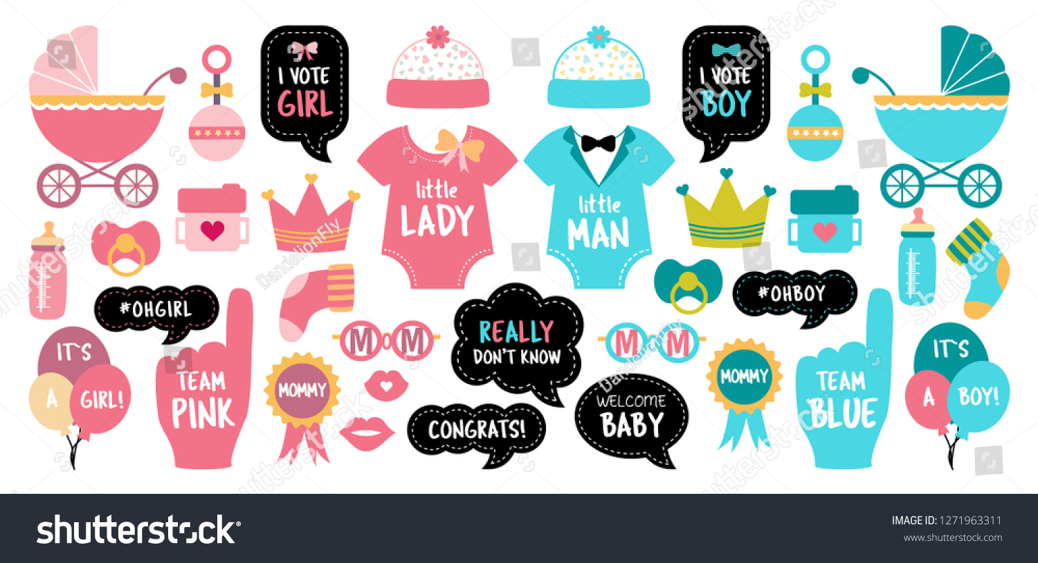 Baby Shower Photo Booth Props Gender Stock Vector Royalty Free