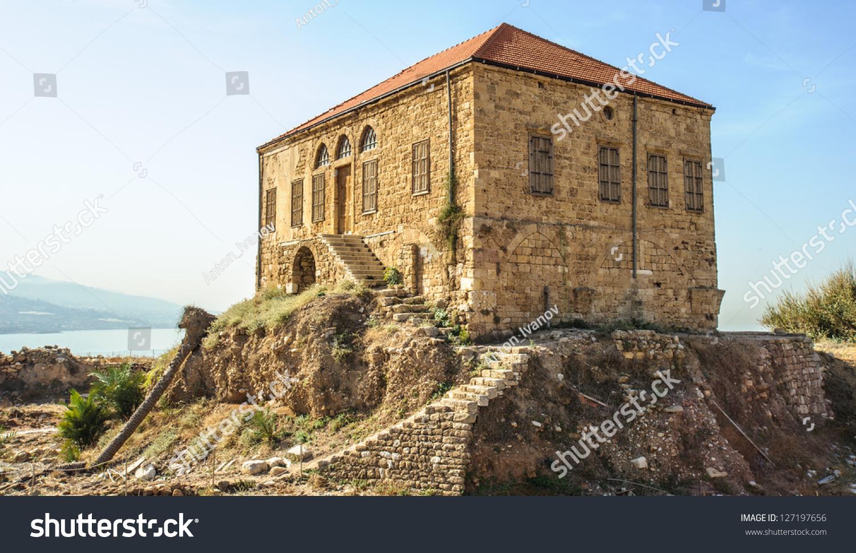Traditional lebanese house over mediterranean sea stock for Modern house lebanon