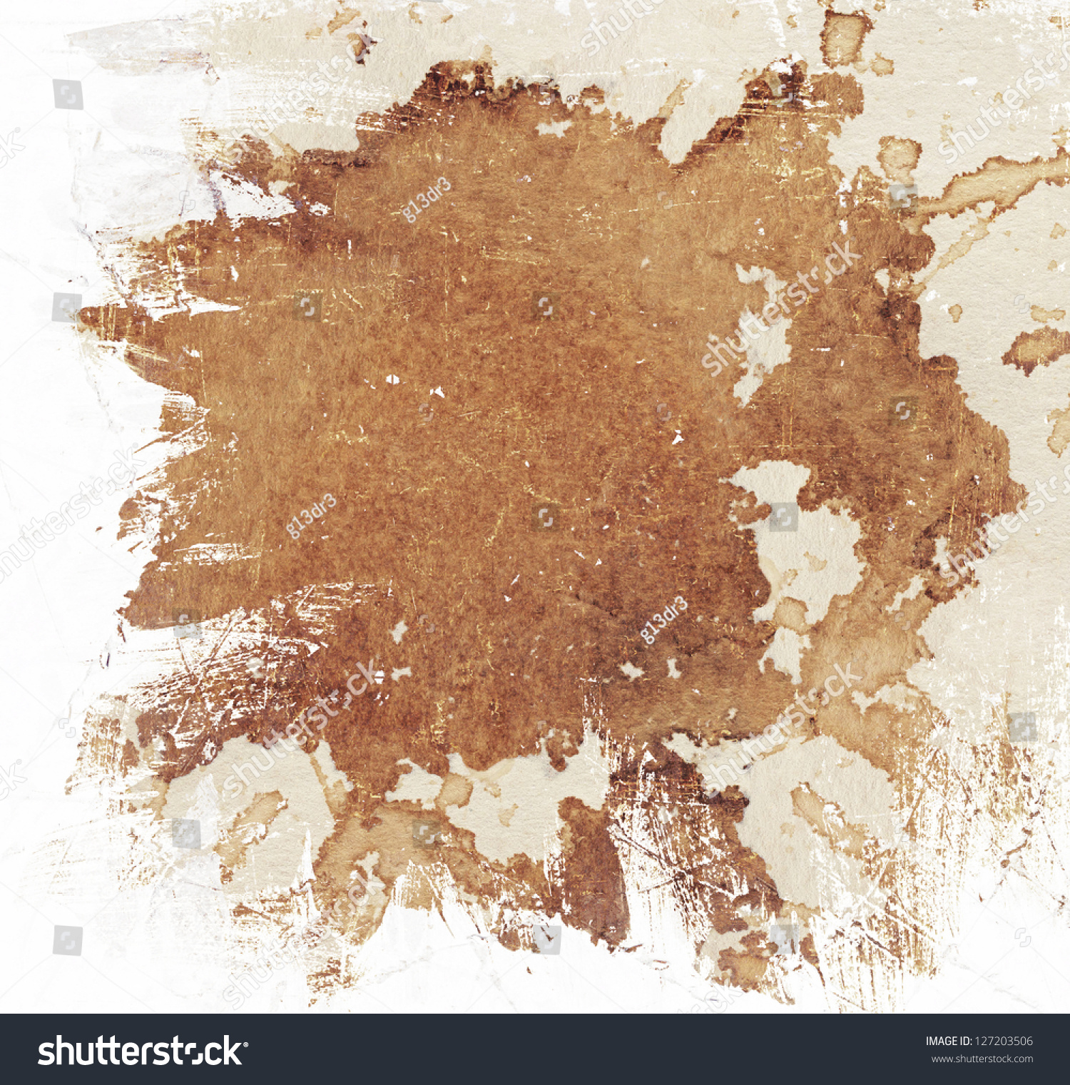 Abstract Brown Watercolor Stained Background Stock