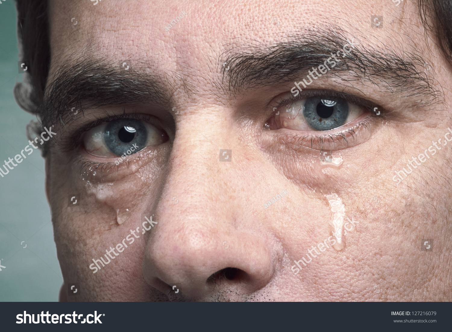 Tears Eyes Crying Adult Man Stock Photo 127216079