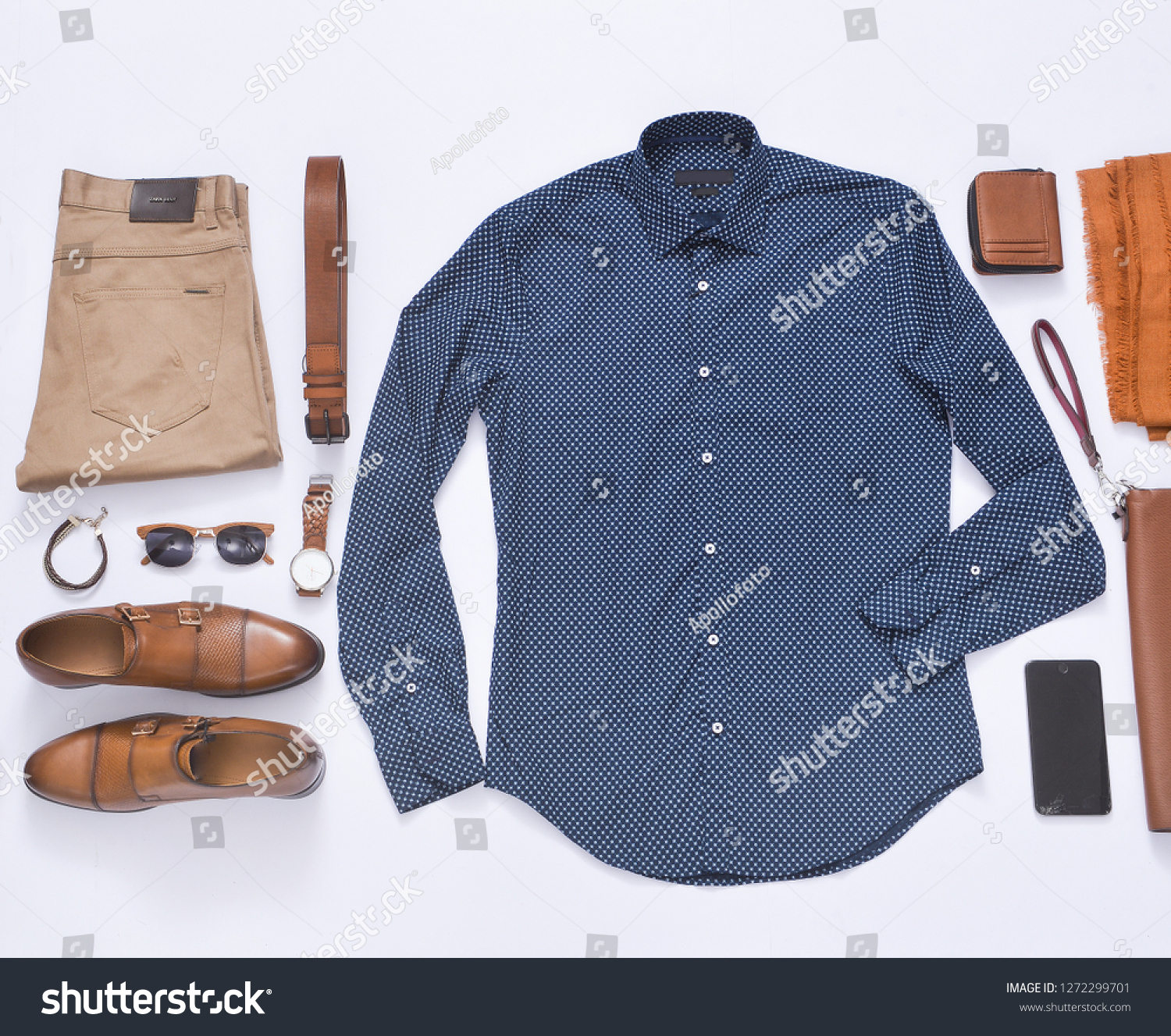 968879adb4e8 Men's casual outfit. Men's fashion clothing and accessories on white  background, flat lay