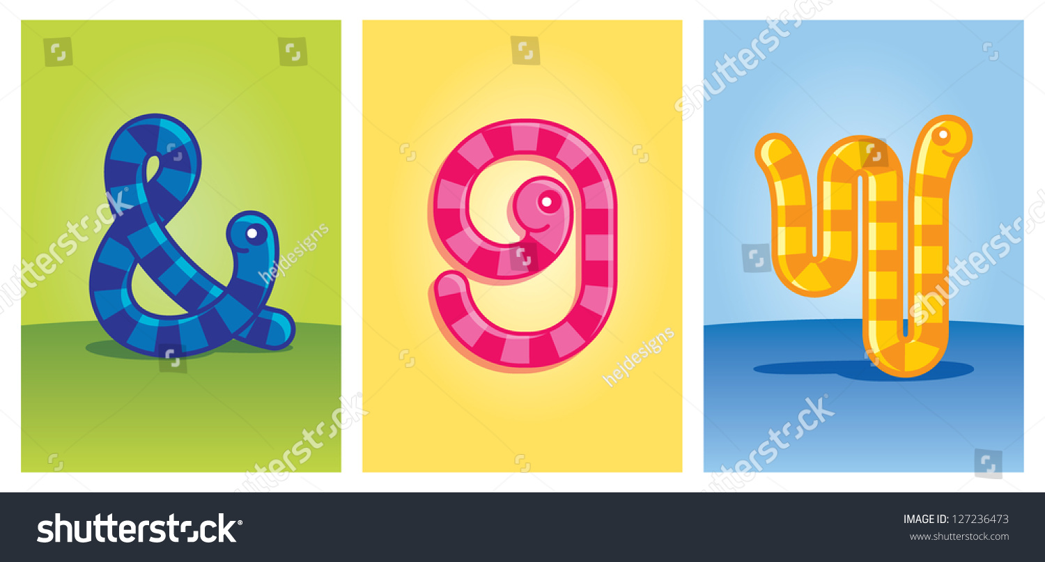 9 Letter Cartoon Characters : Worm cartoon characters forming letter w stock
