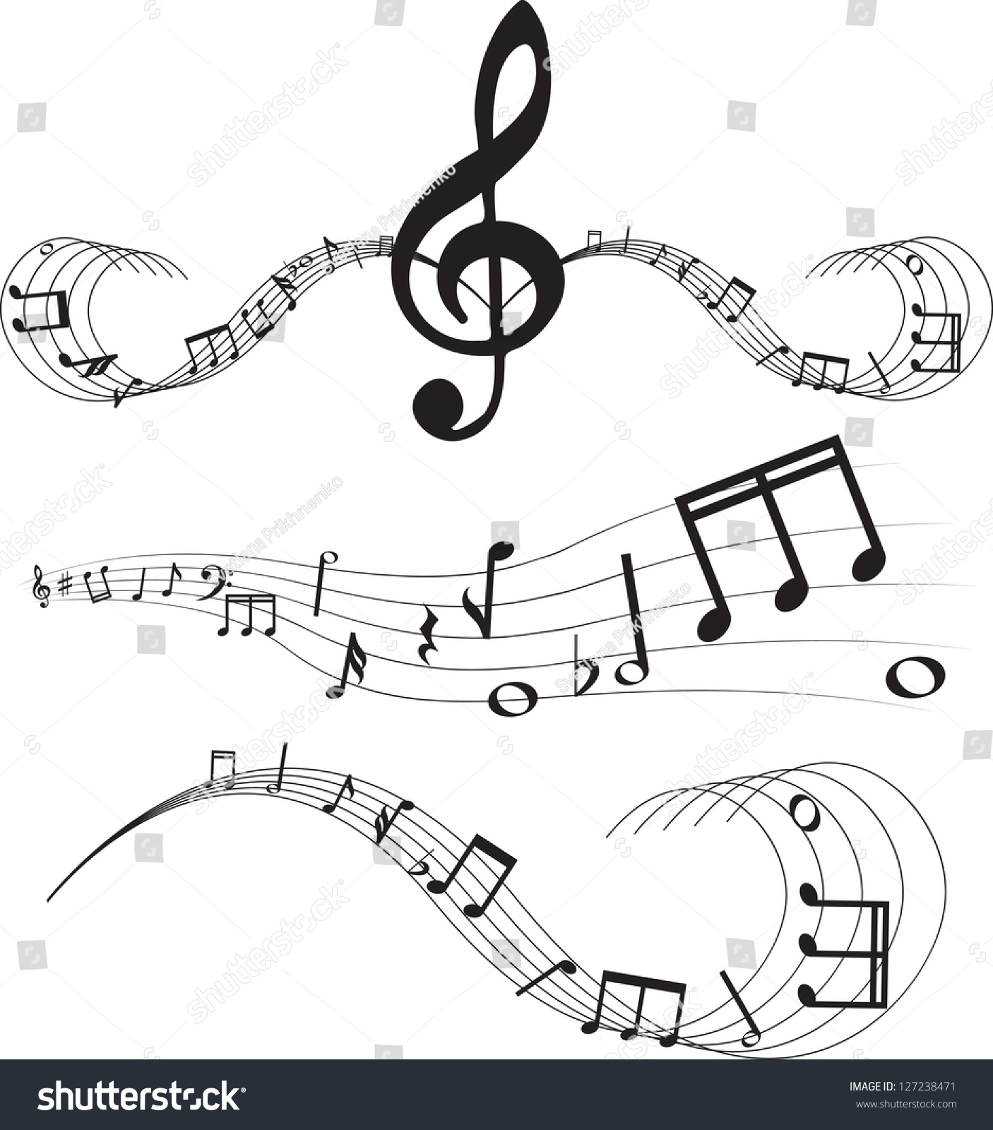 set music notes on staves stock vector 127238471 shutterstock