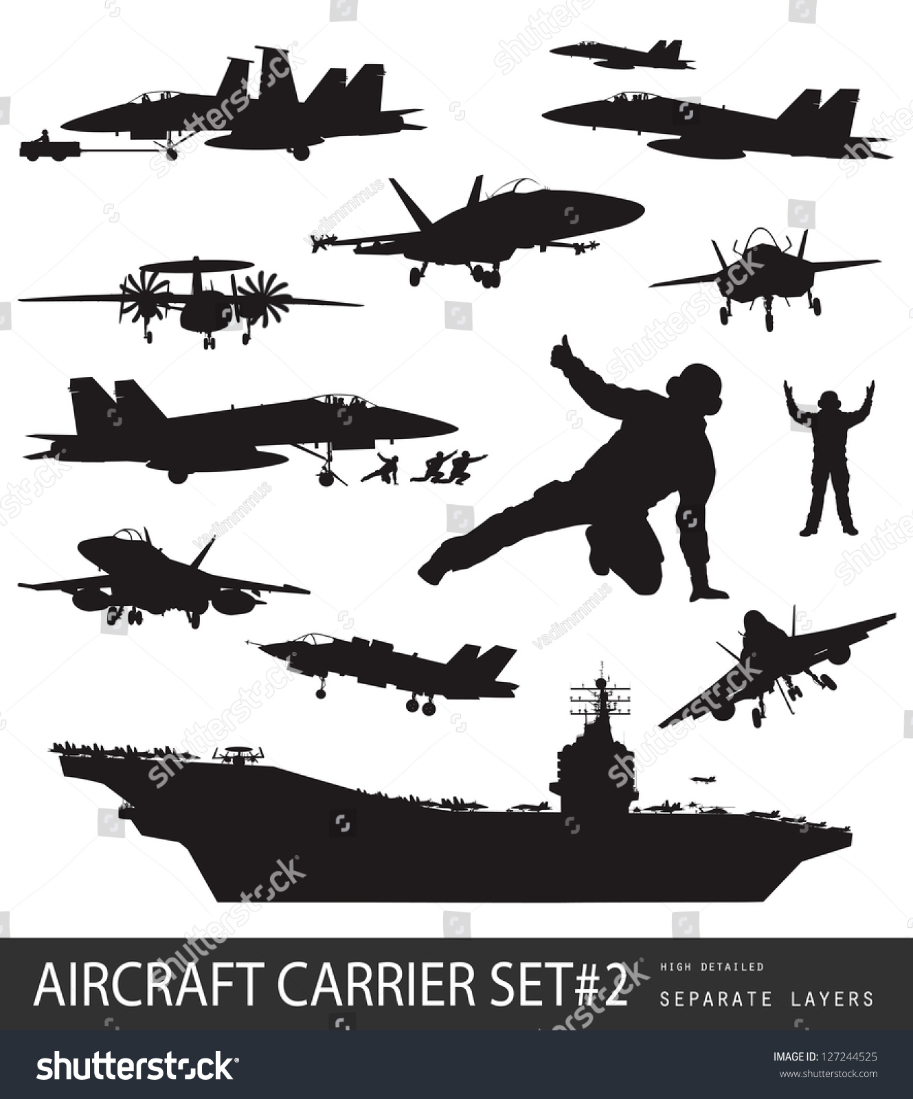 Set Aircraft Silhouettes 2vector Stock Vector 117483424 - Shutterstock