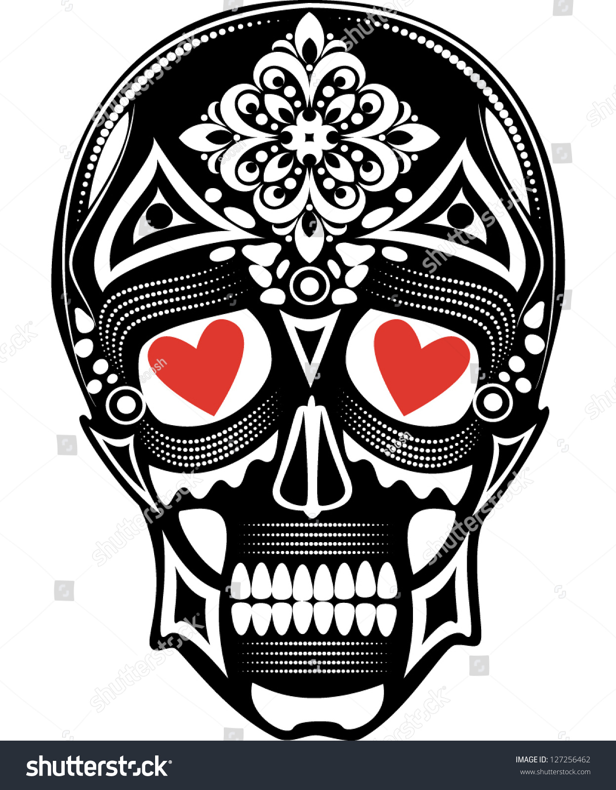 Vector Illustration Of A Skull Tattoo With Red Hearts In Its Eyes