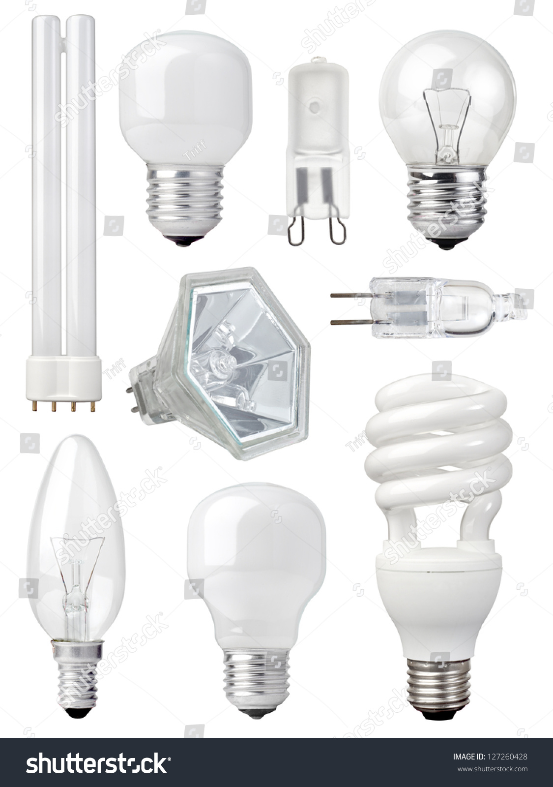 Collection different kind light bulbs on stock photo 127260428 collection of different kind of light bulbs on white background arubaitofo Images