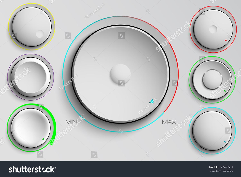 Volume Control Button : Vector set buttons volume control stock