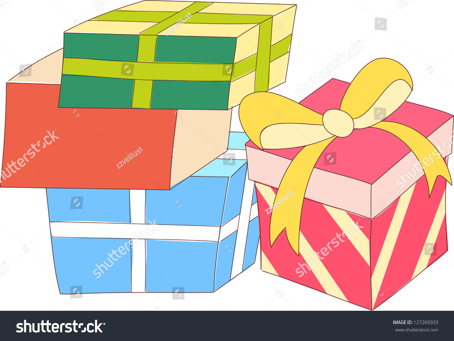 Vector illustration gift wrapped boxes stock vector 127265933 a vector illustration of gift wrapped boxes negle Images