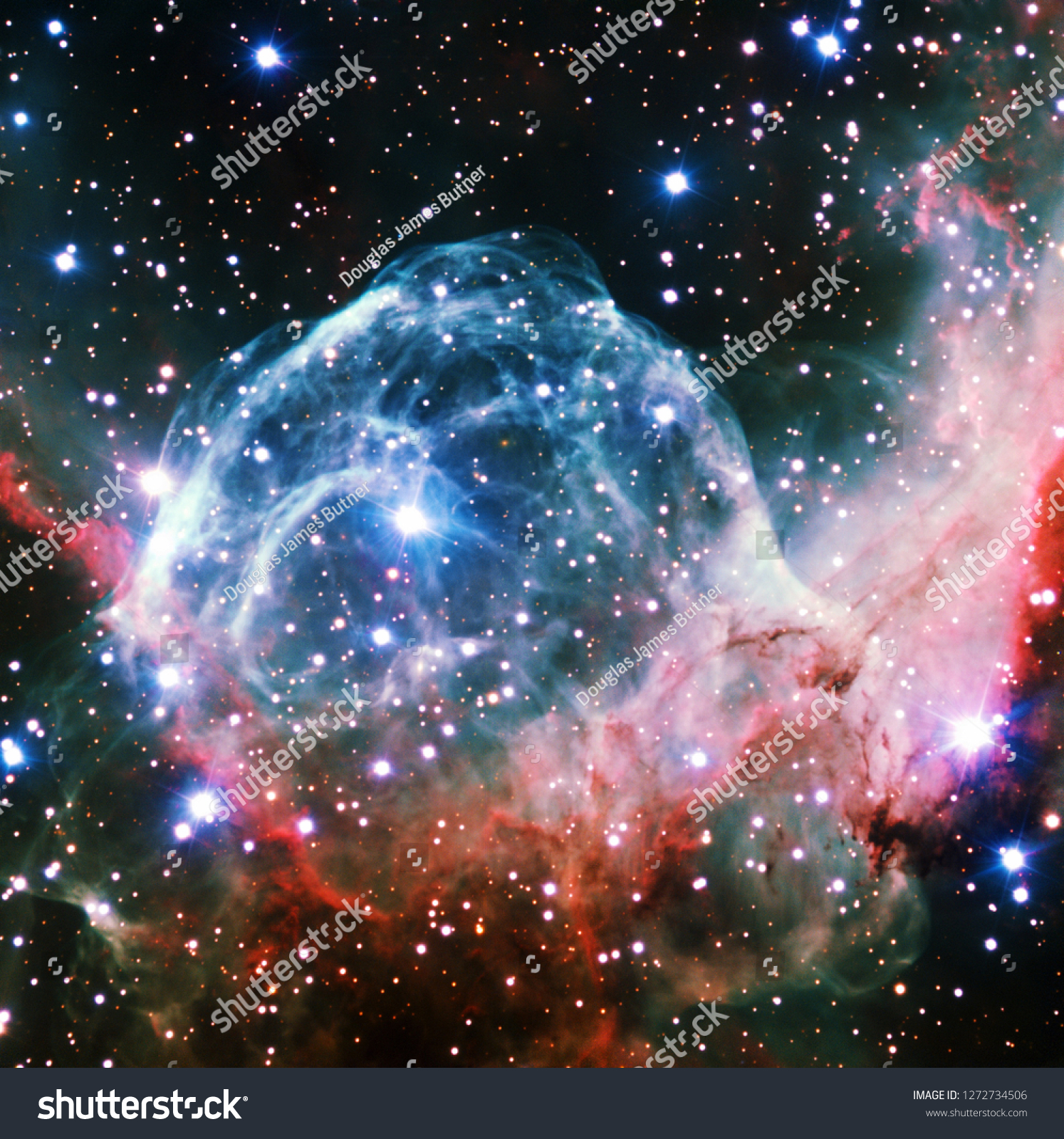 stock photo thor s helmet nebula recolored red and blue galaxy universe background wallpaper original image 1272734506