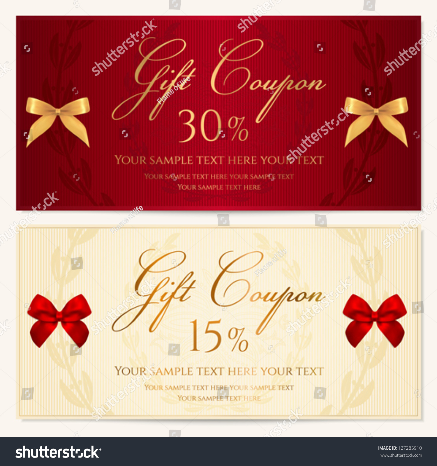 Voucher Template Border Red Bow Ribbons Stock Vector (Royalty Free ...