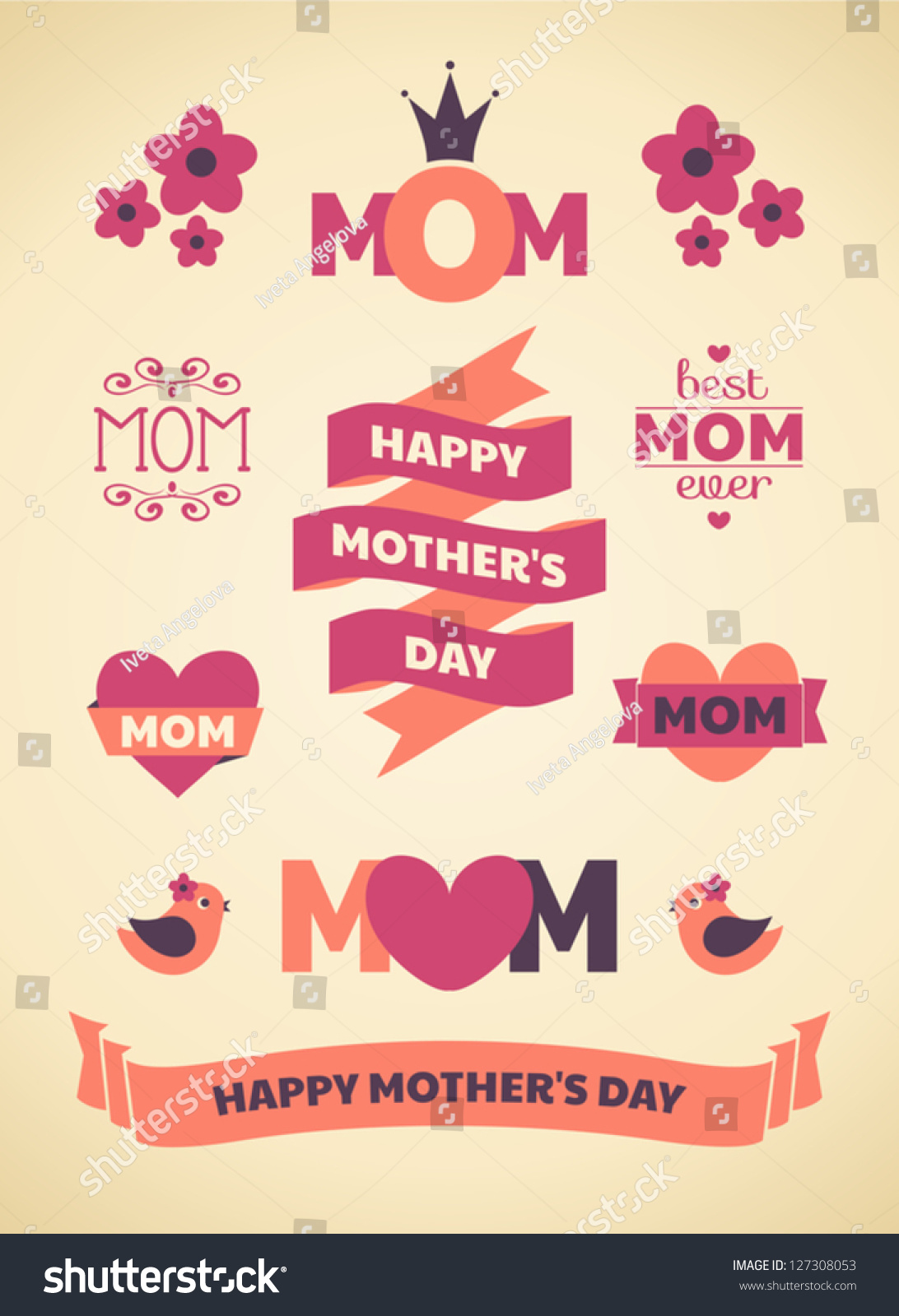 set cute design elements mothers day stock vector 127308053