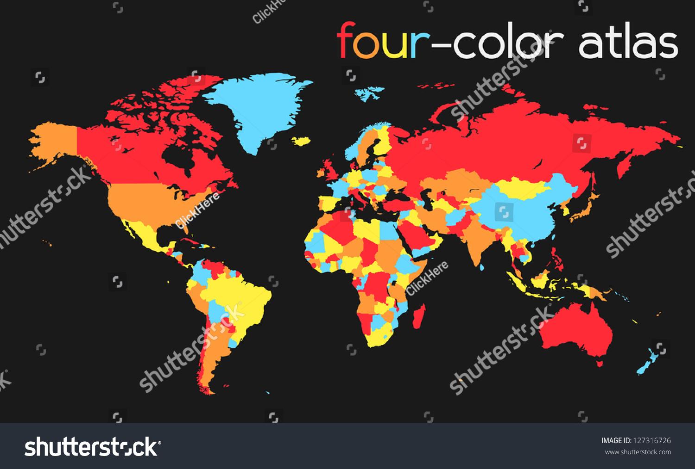 Fourcolor world map atlas eps 10 vectores en stock 127316726 four color world map atlas eps 10 vector gumiabroncs Choice Image