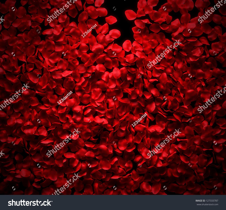 Rose Petals Background On Black Ground Stock Photo