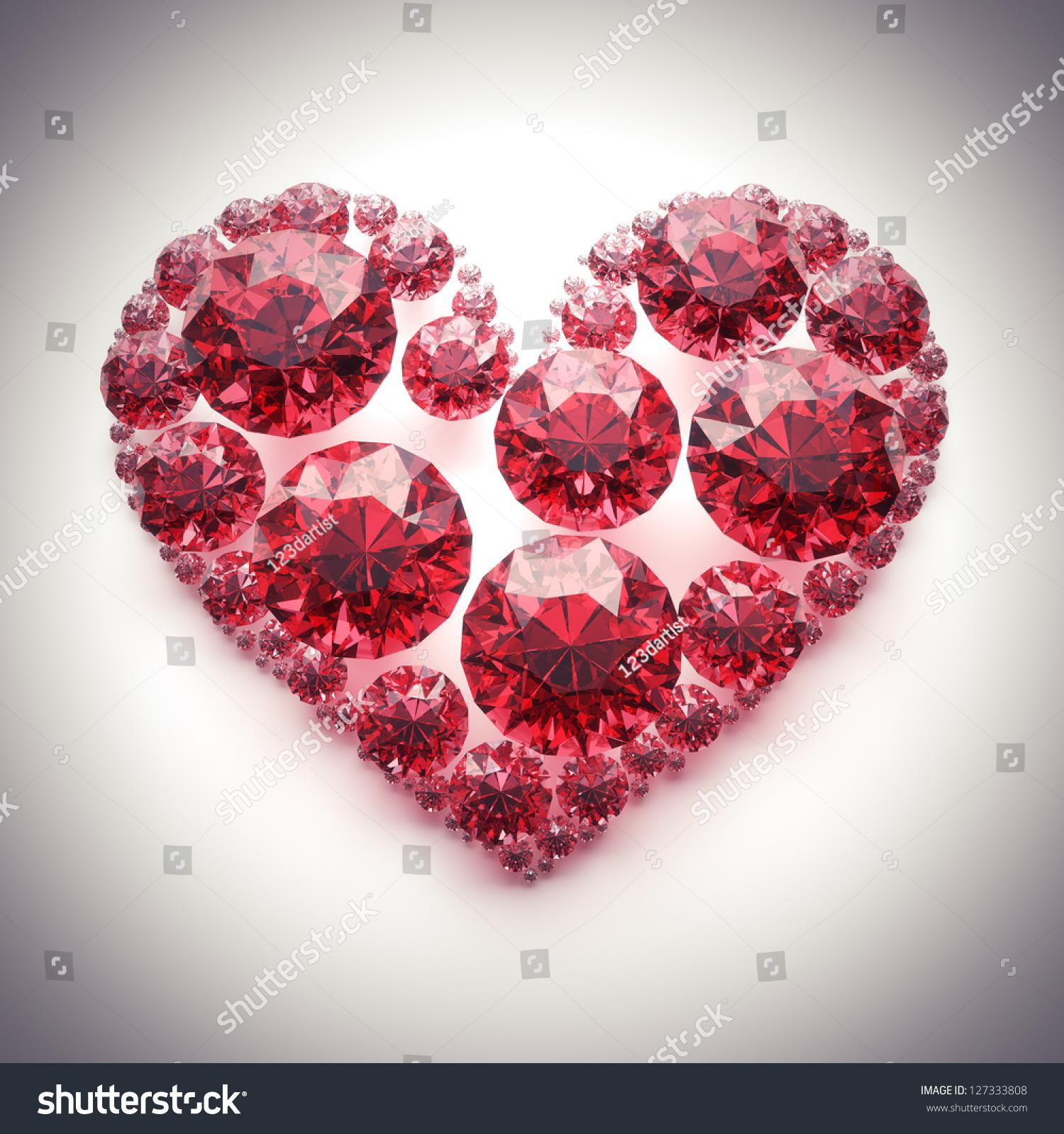 Red diamond heart photo