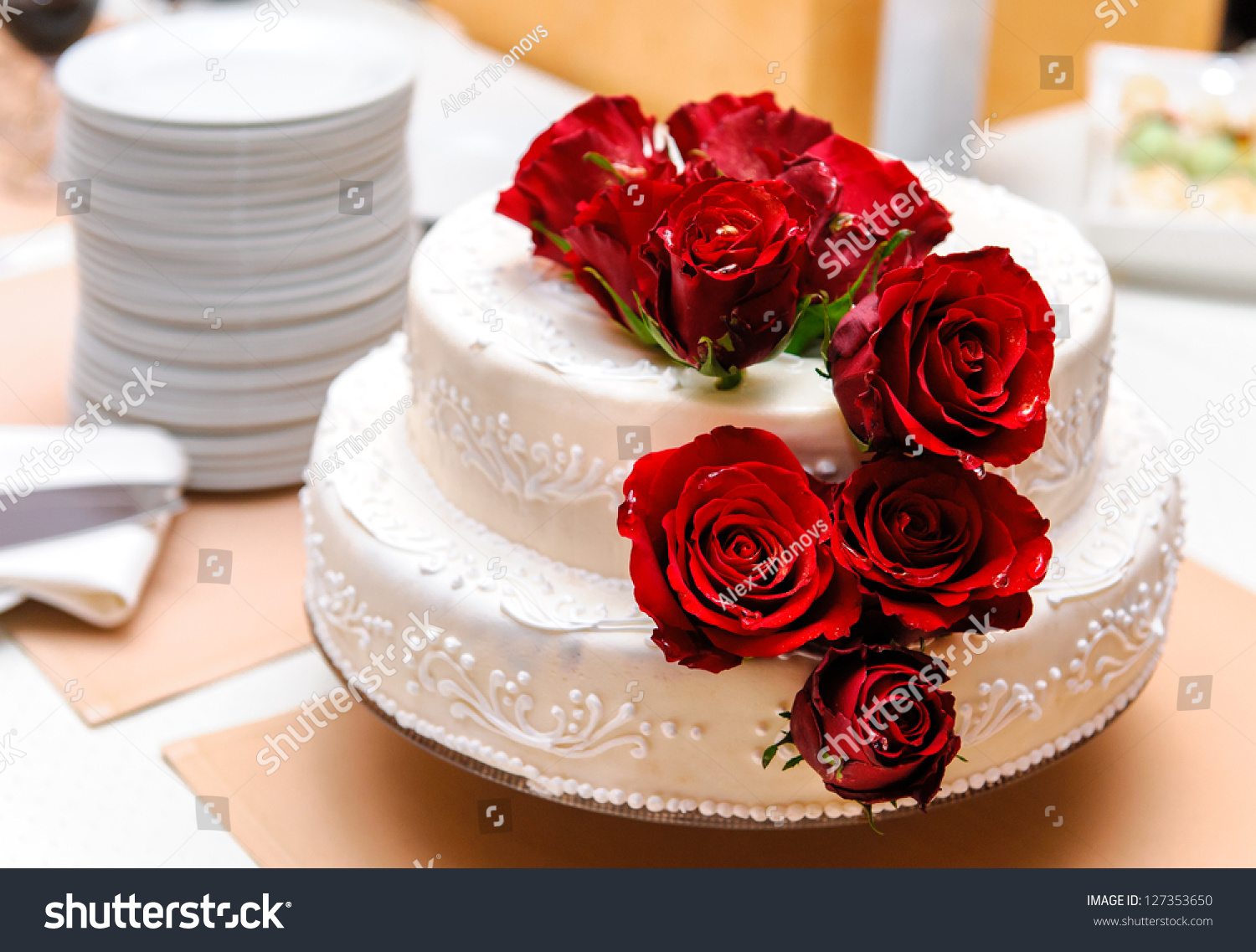 red decorated wedding cakes wedding cake decorated roses stock photo 127353650 19121