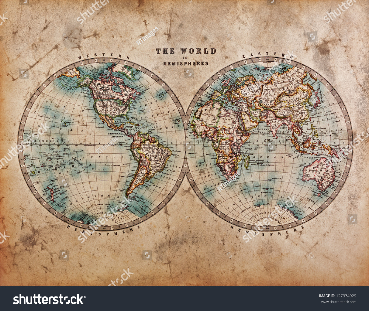 A Genuine Old Stained World Map Dated From The Mid 1800 39 S Showing Western