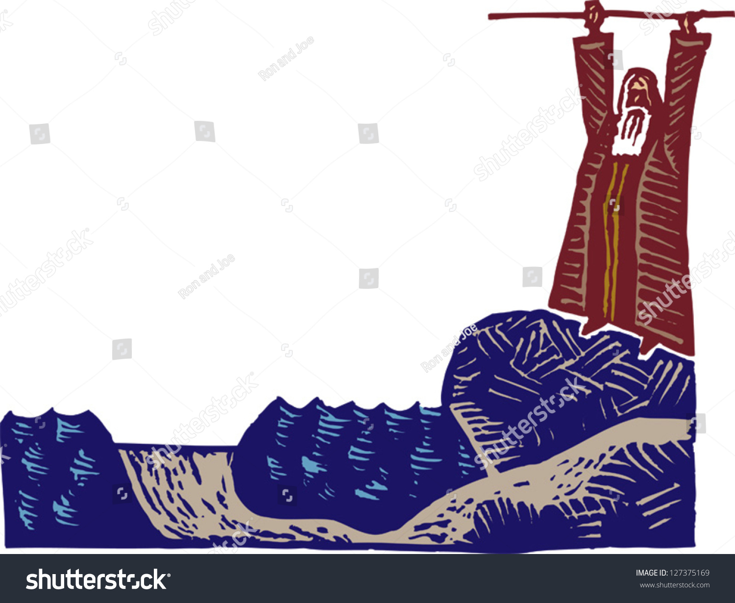 Vector Illustration Moses Parting Red Sea Stock Vector 127375169 ...