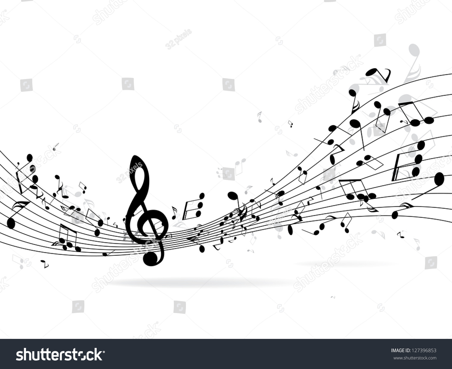 music notes shadowabstract musical background vector stock vector