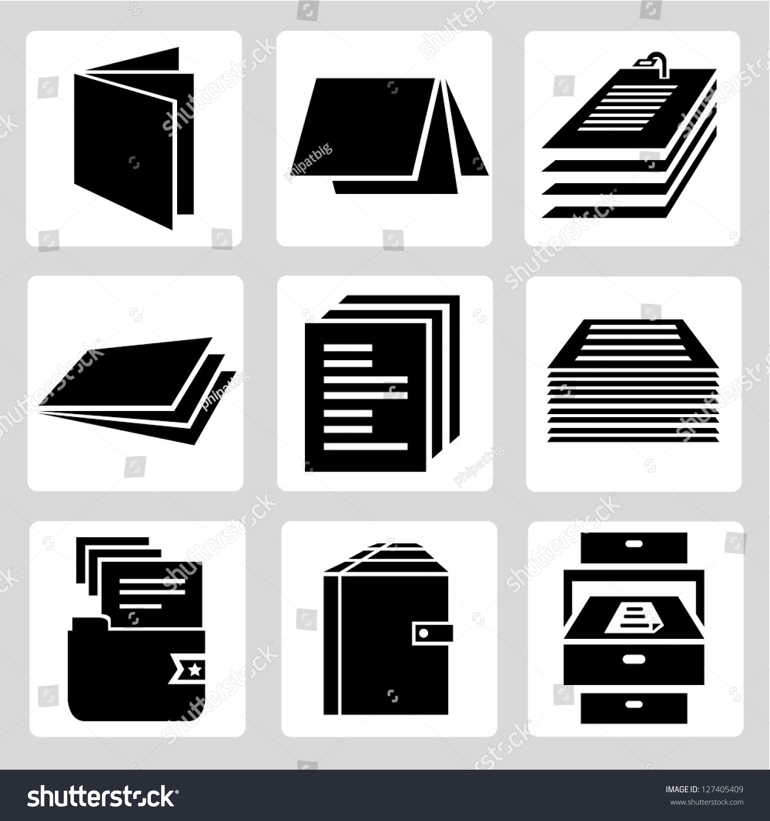 document icon set stack paper sign stock vector (royalty free