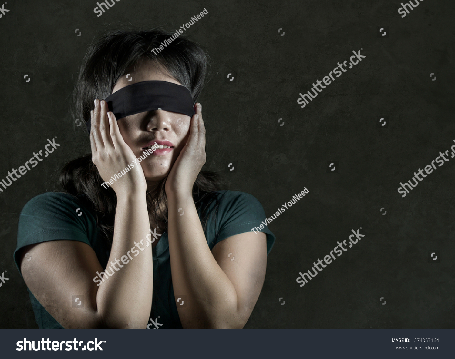 Young Scared Blindfolded Asian Korean Teenager Stock Photo