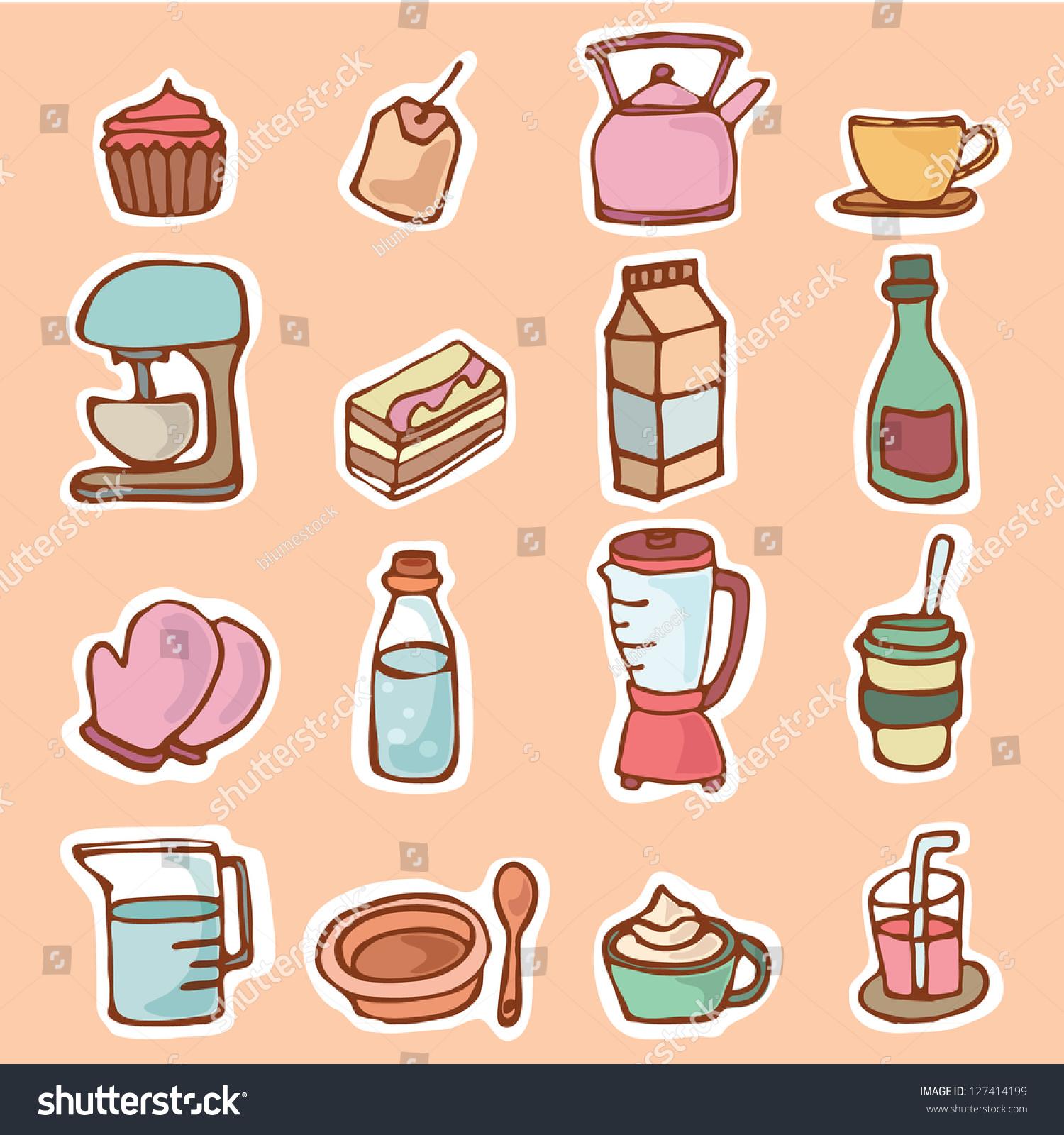 Cartoon Kitchen Tools ~ Kitchen utensils kitchenware for cooking or preparing