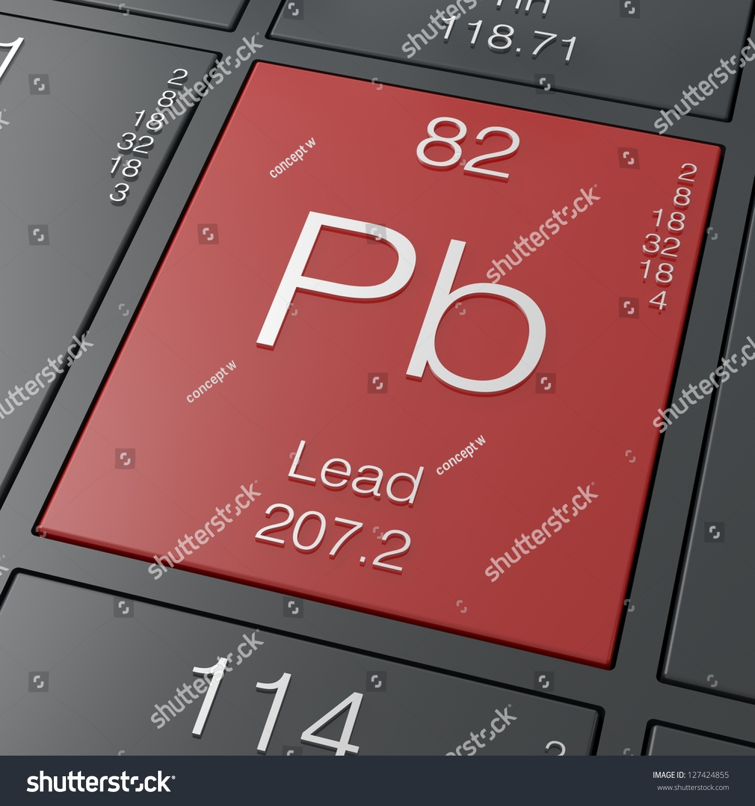 Lead Element Periodic Table Stock Illustration 127424855 ...