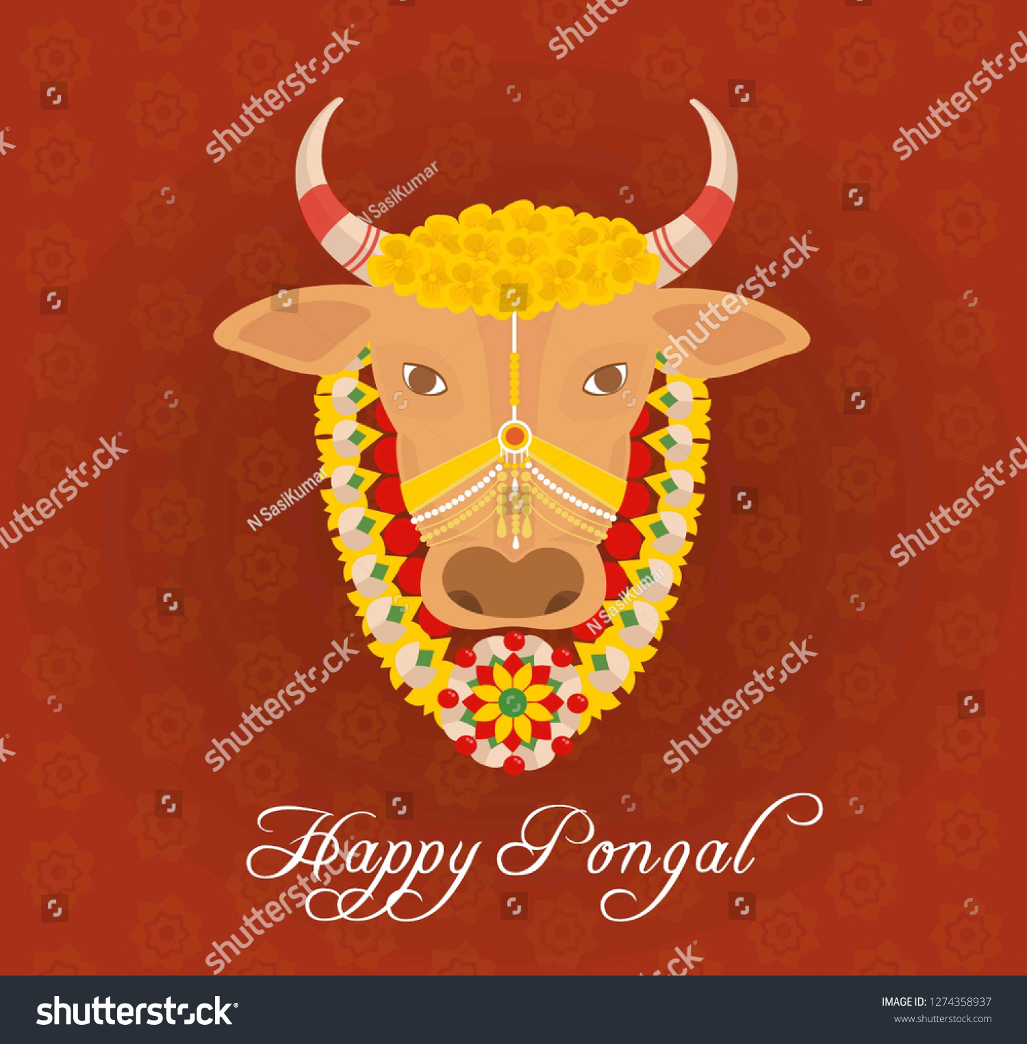 Happy pongal 2019 card with designed jallikattu cow background