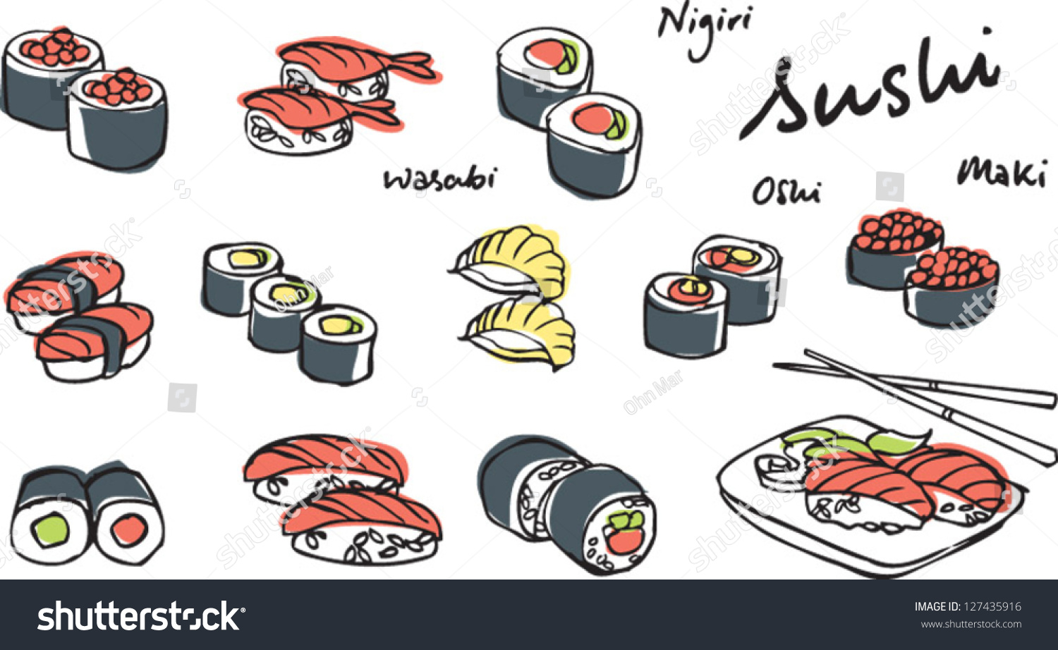 Japanese Food Sushi Vector Illustration Stock Vector