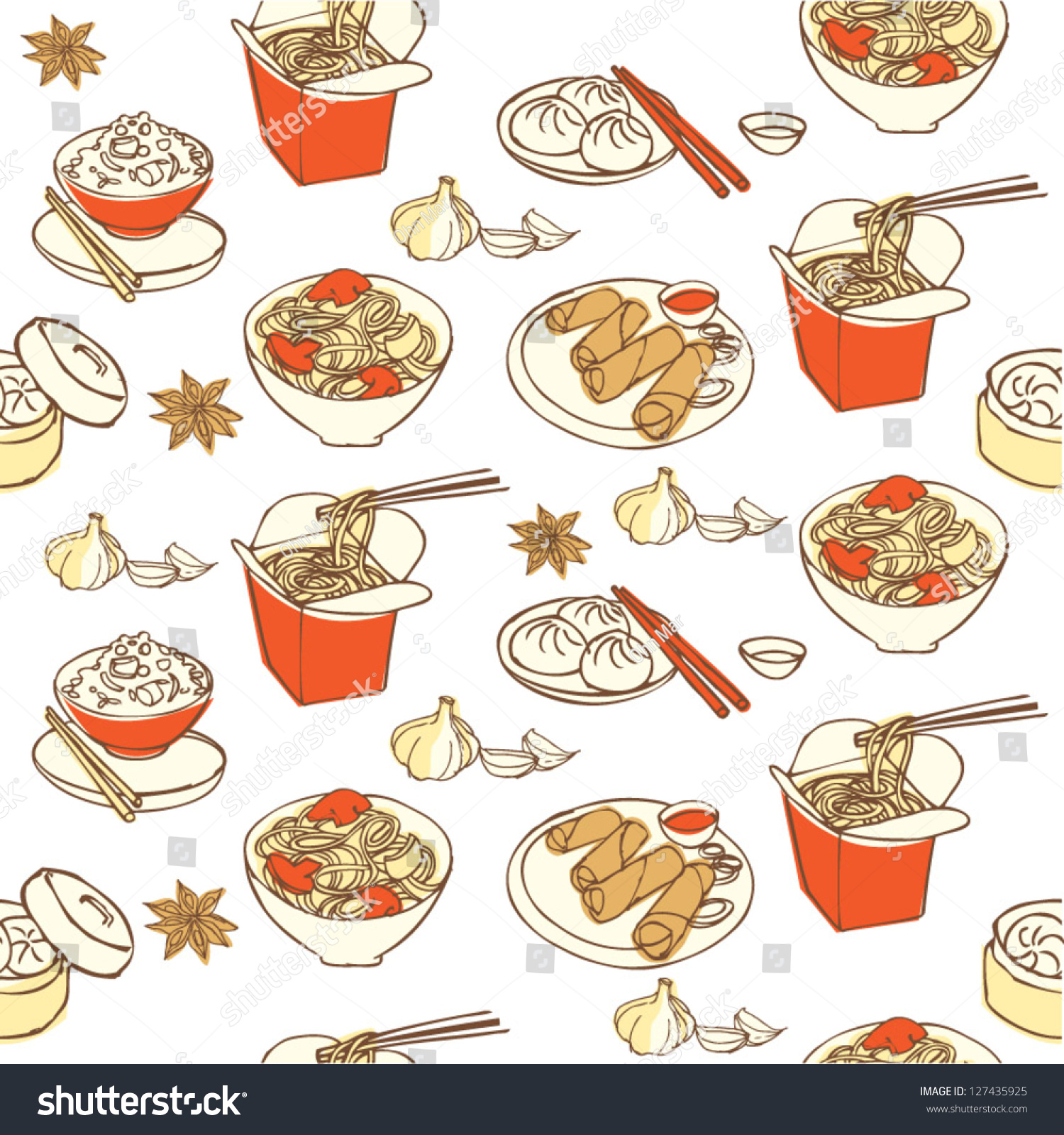 Chinese Food Seamless Pattern Stock Vector 127435925 ...
