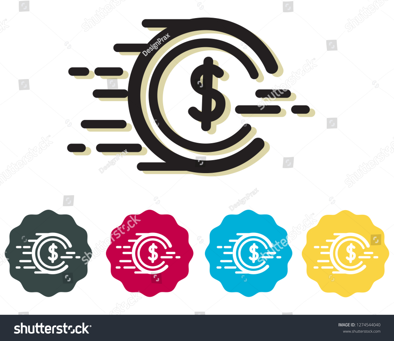 Spending Power Coin Icon Eps 10 Stock Vector (Royalty Free) 1274544040