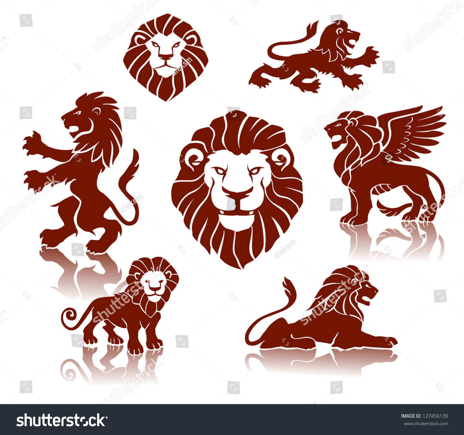 lions silhouettes set stock vector 127456139 shutterstock