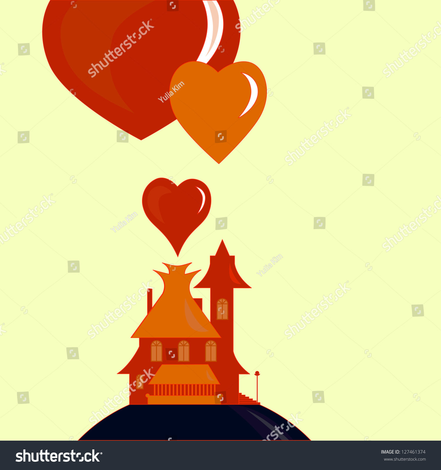 Red house flying hearts coming out stock vector 127461374 shutterstock stopboris Gallery