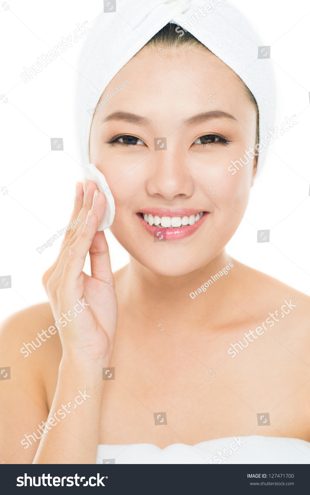 Vertical Portrait Of Pretty 14 Year Old Girl Stock Image: Vertical Portrait Of A Young Woman Cleansing Her Face With
