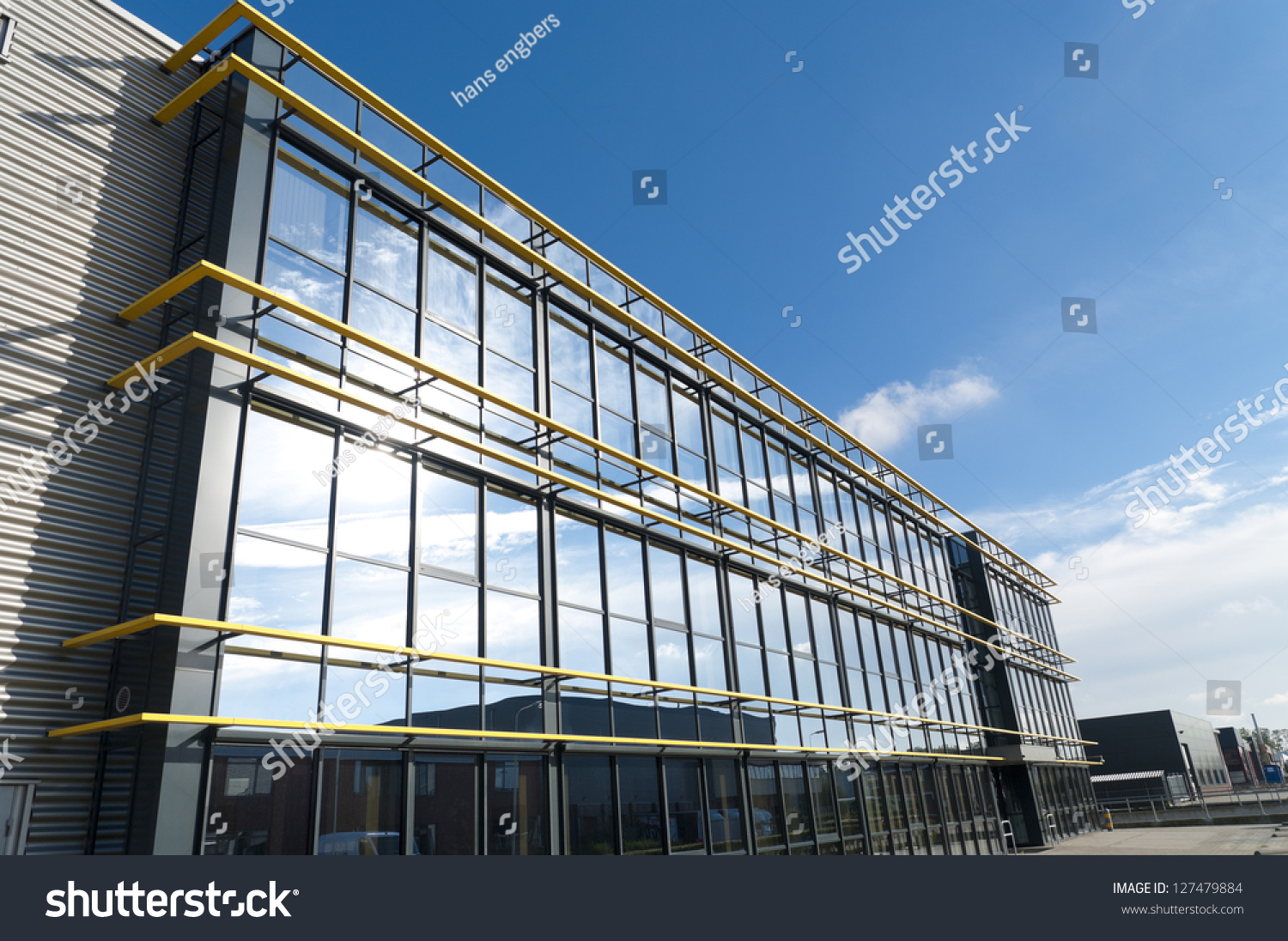 Glass exterior modern office building stock photo for Modern office exterior design