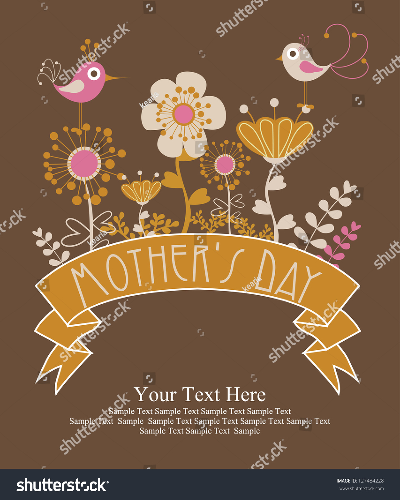 Happy Mothers Day Card Design Vector Stock Vector 127484228 ...