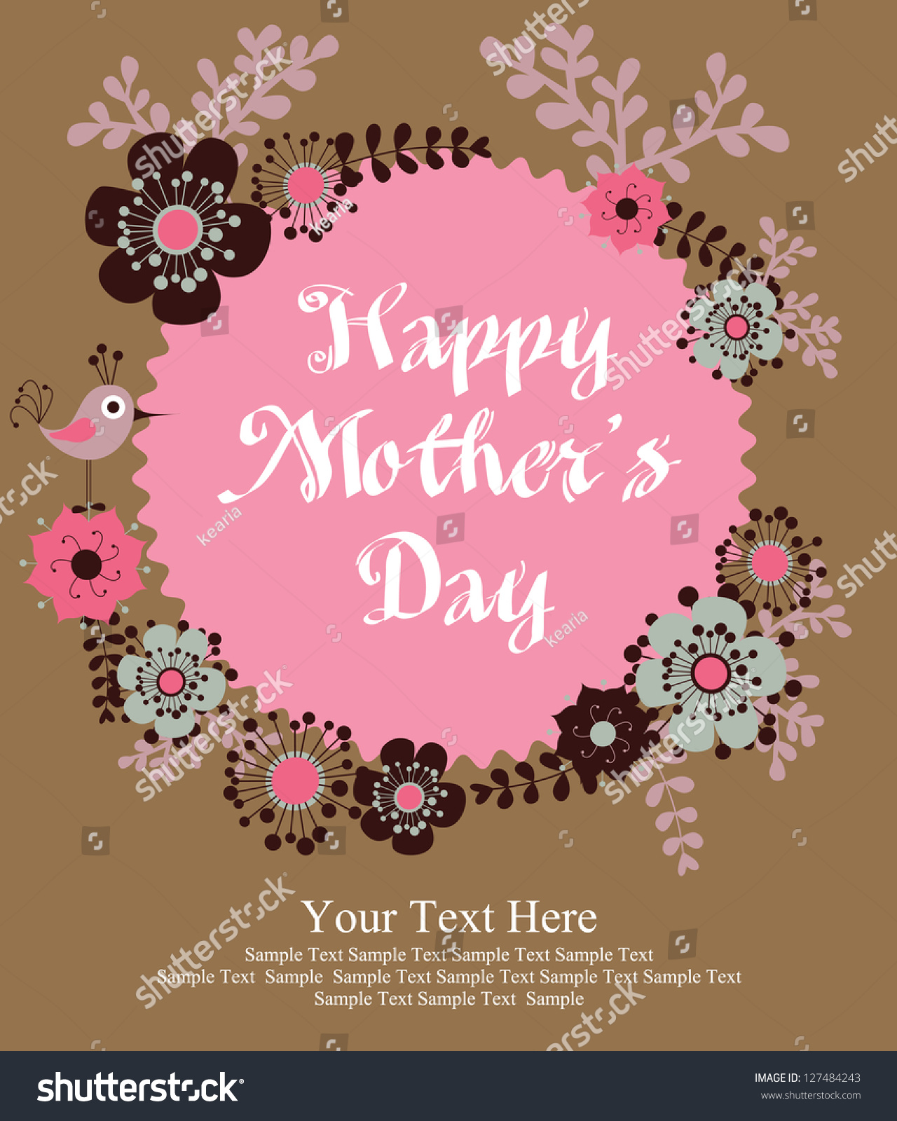 Happy Mothers Day Card Design Vector Stock Vector 127484243 ...