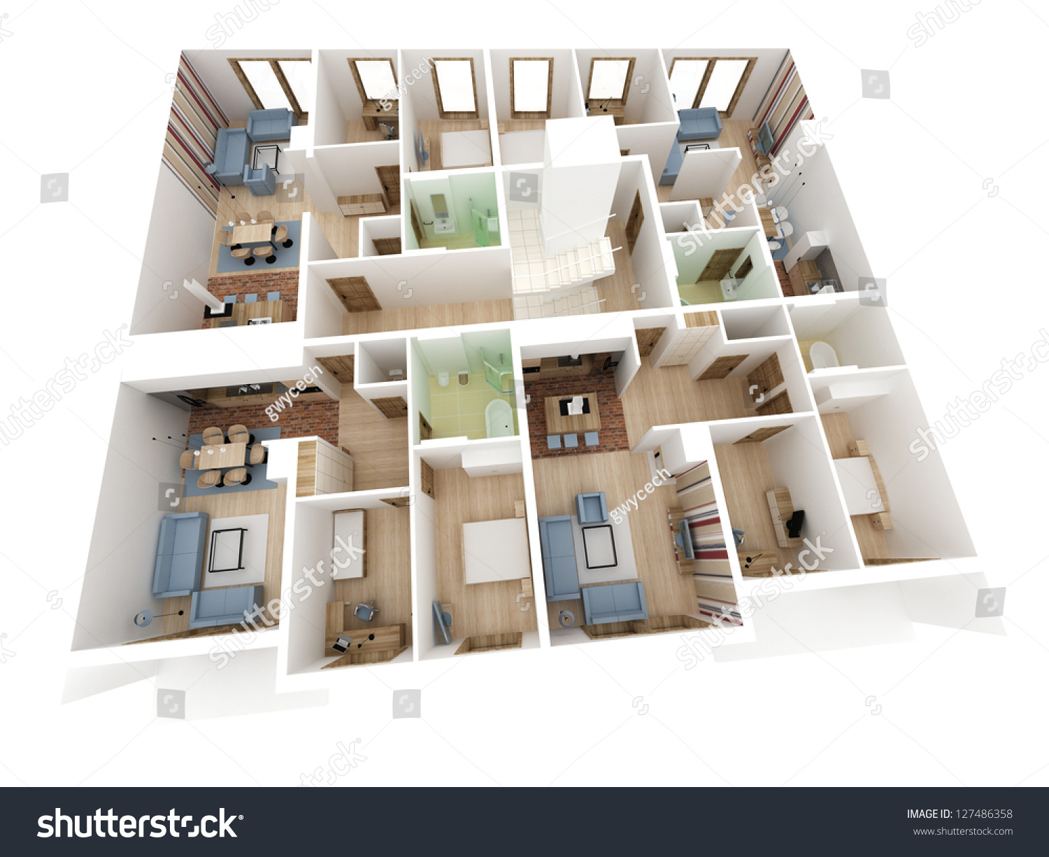 Apartments level top view building design stock for Apartment design process