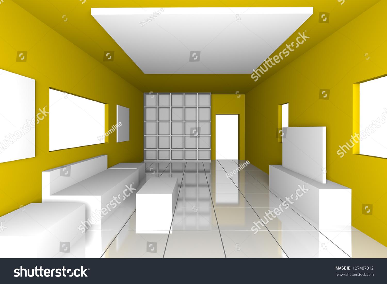 Mockup Minimalist Livingroom Yellow Wall Tile Stock Illustration ...