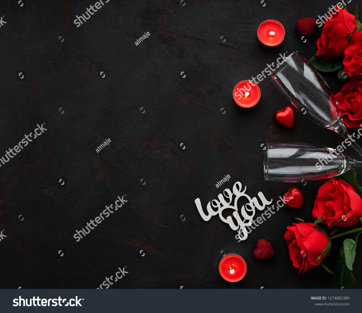 Valentines day romantic background - red roses, glasses, candle and hearts #1274882389
