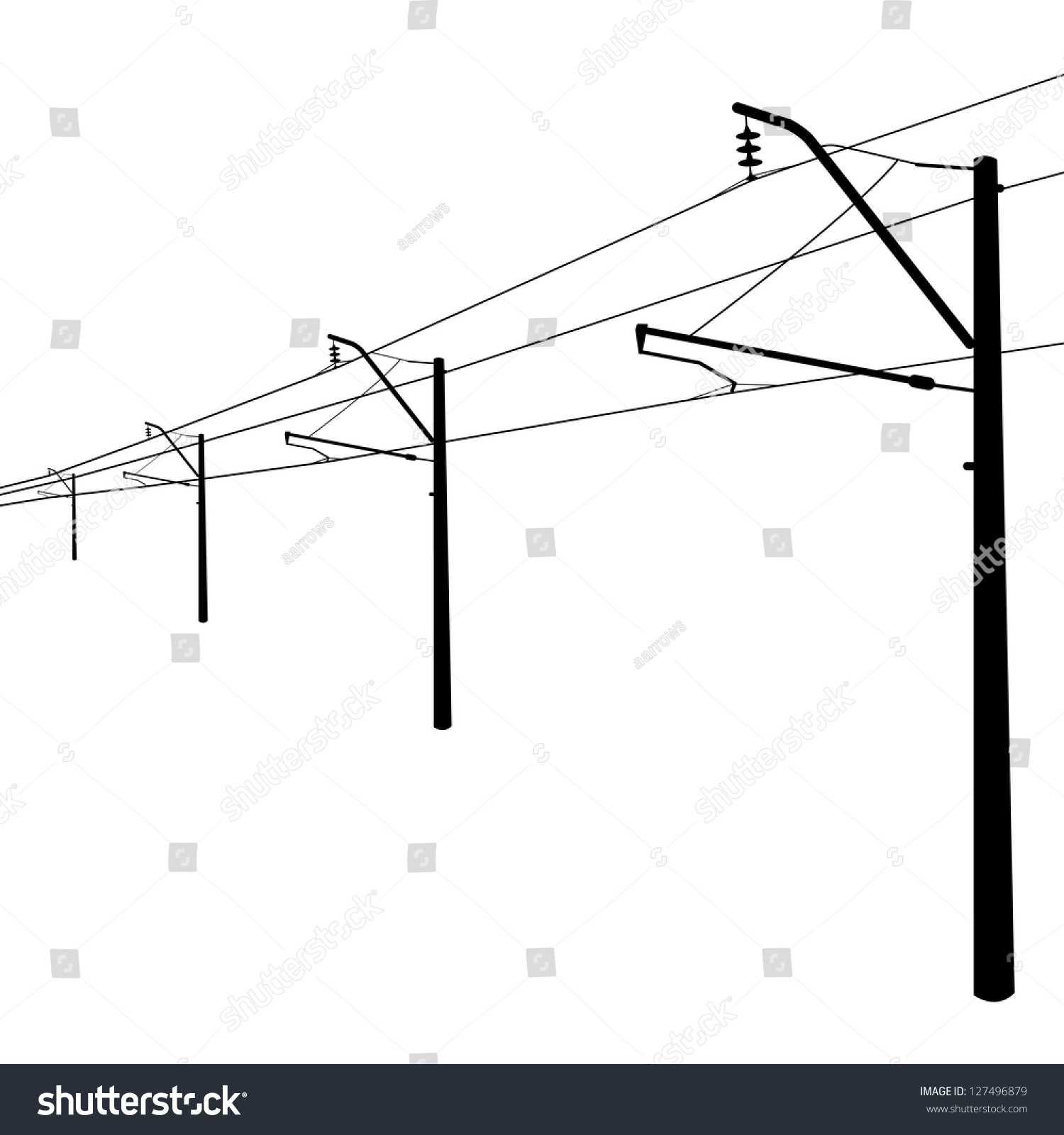 railroad overhead lines contact wire vector stock vector 127496879 contact wire vector illustration