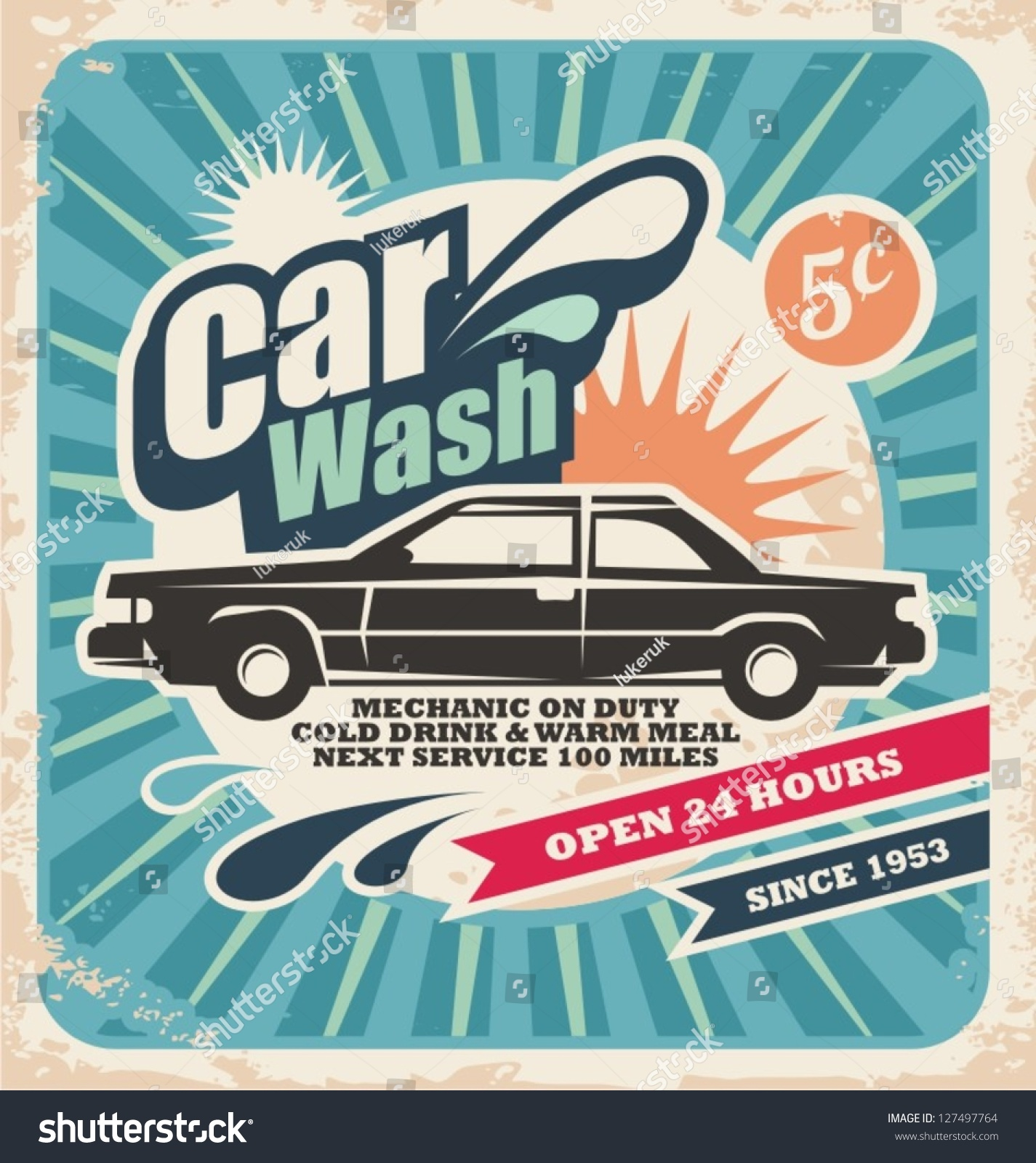 Royalty Free Vector Background With Vintage Car Wash