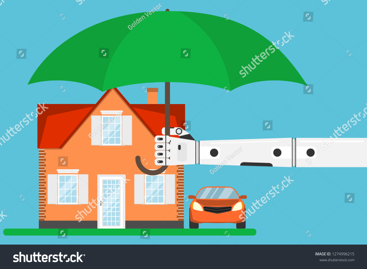House Protected Hand Umbrella Protects House Stock Vector Royalty