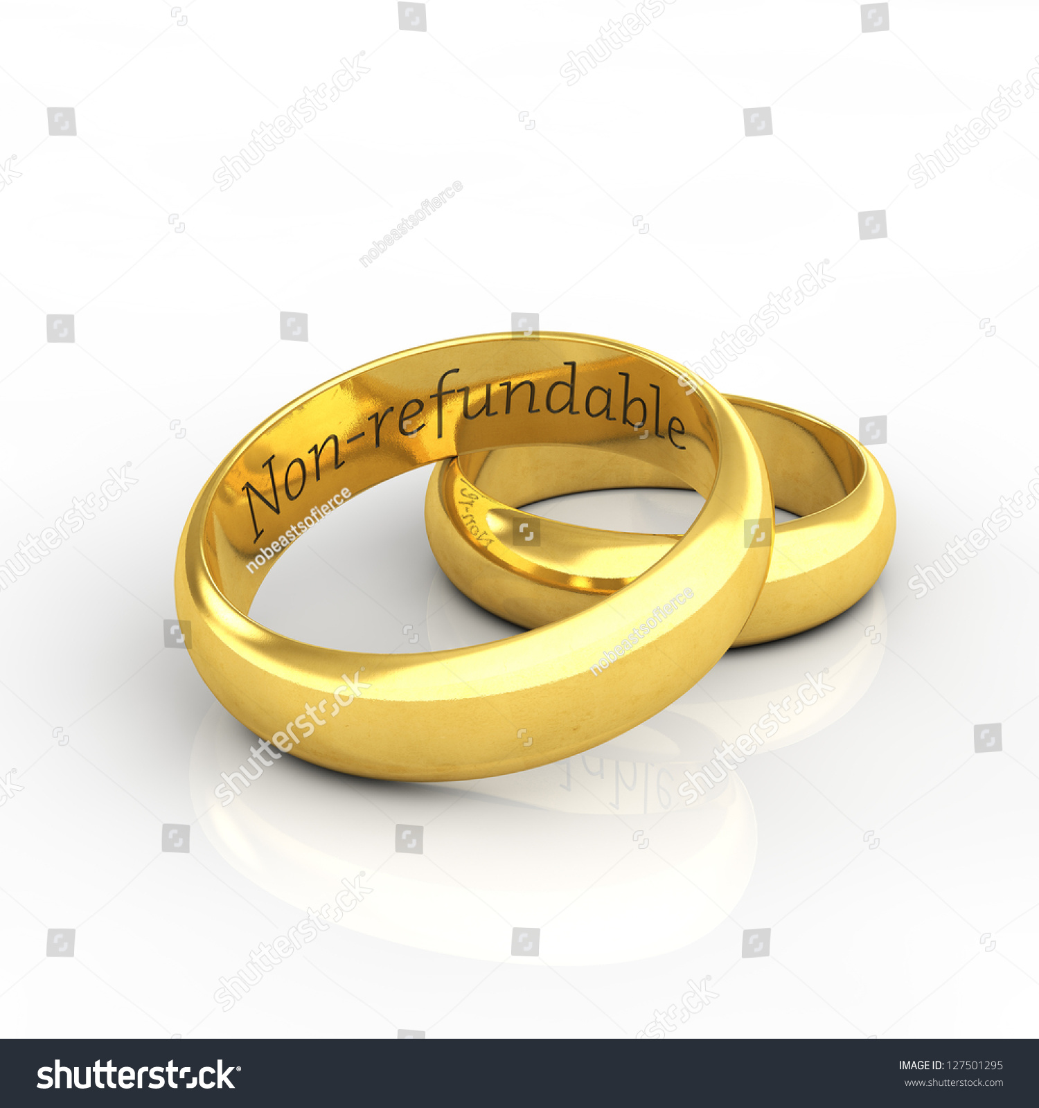 Golden Wedding Rings With Funny Engraving On White Background