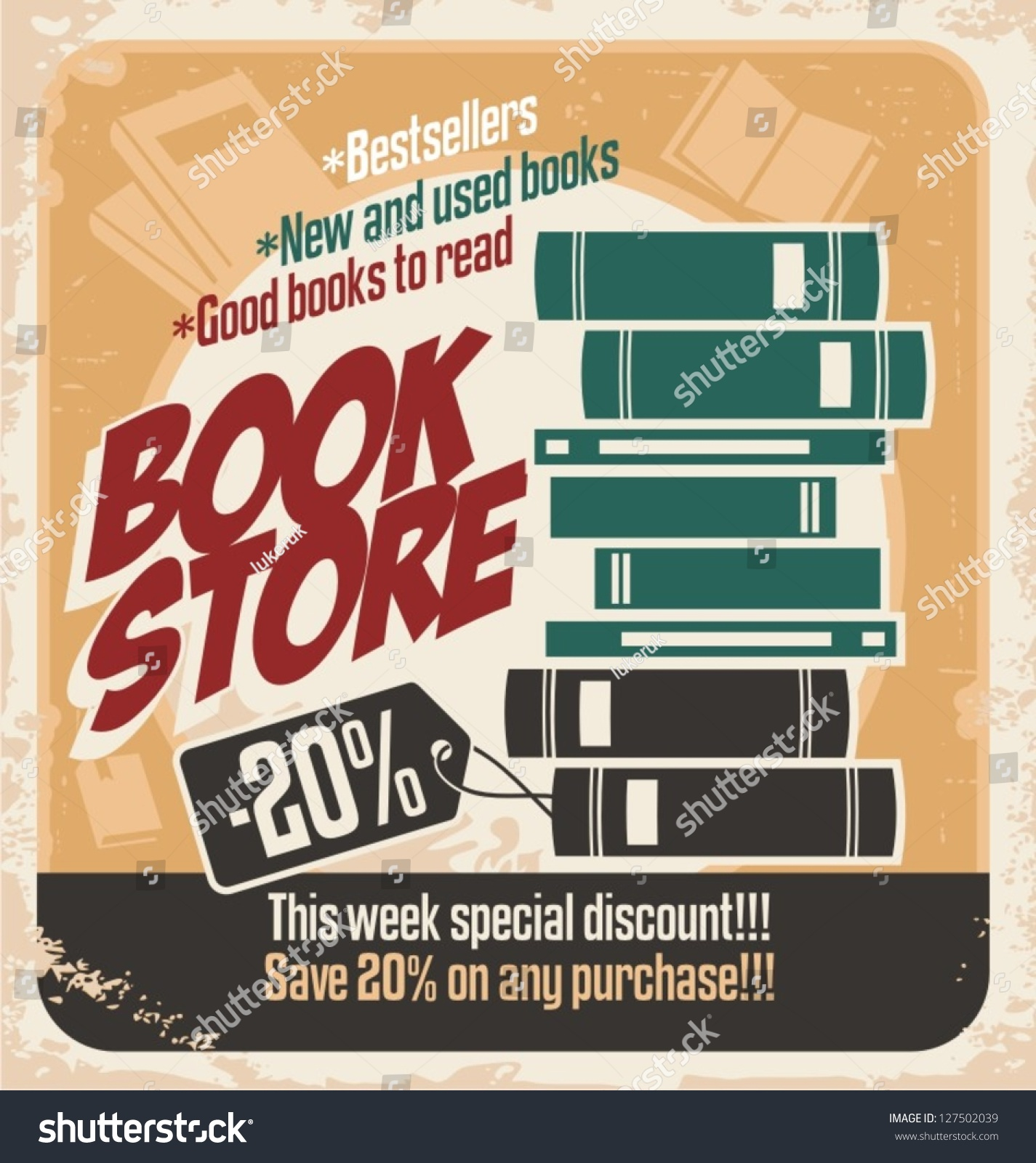 retro bookstore poster design  vintage ad template with
