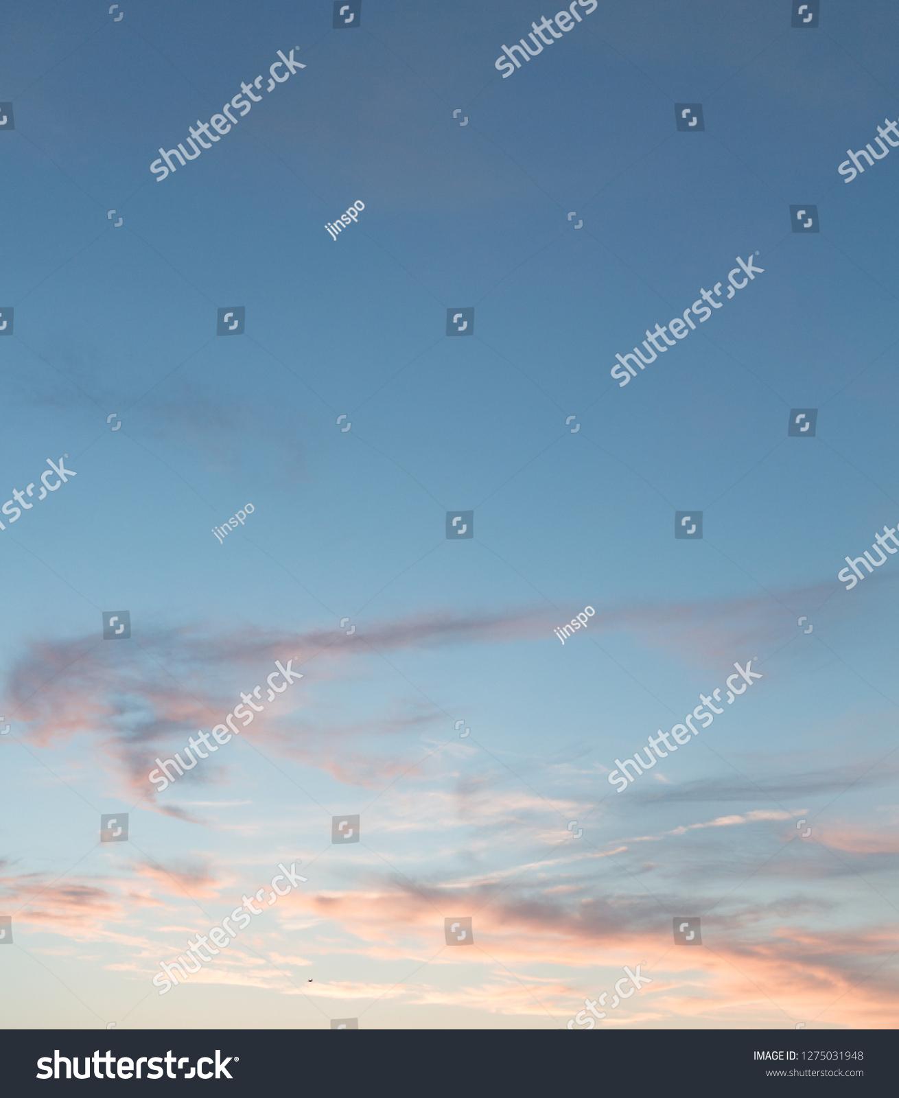 Blue Sky Pink Orange Wispy Clouds Stock Photo Edit Now